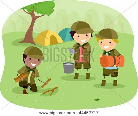 Illustration of Little Boyscouts on the Campsite