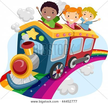 Illustration of Stickman Kids on Top of a Rainbow Train