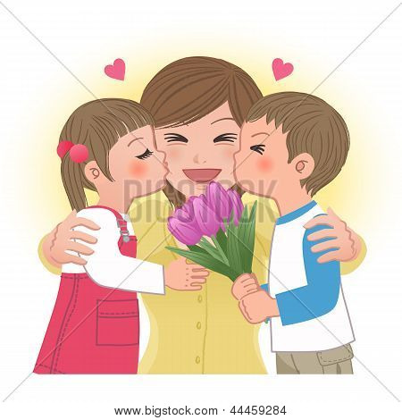 Boy And Girl Kissing Mom