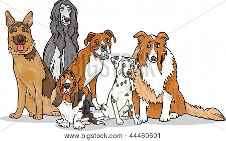 Cartoon Illustration of Cute Purebred Dogs or Puppies Group poster
