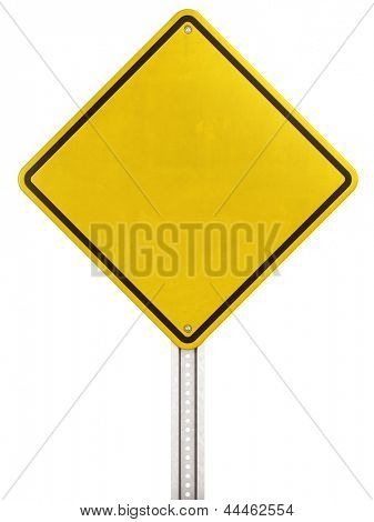 3d rendering of blank yellow traffic sign