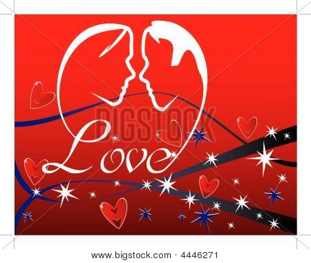 Hearts And Stars Background With Lovers