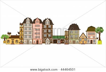 These houses could be anywhere in Europe and reach back to the middle age.vector poster