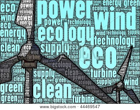 Illustration of wind turbines, made up of words