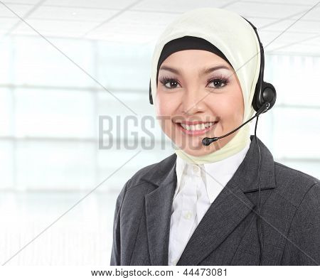 Beautiful Muslim Woman Customer Service Operator