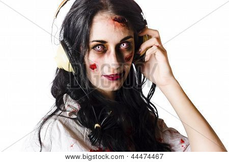 Heavy Metal Zombie Woman Wearing Headphones