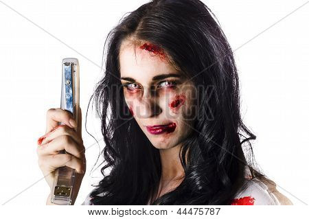Zombie Woman With Stapler