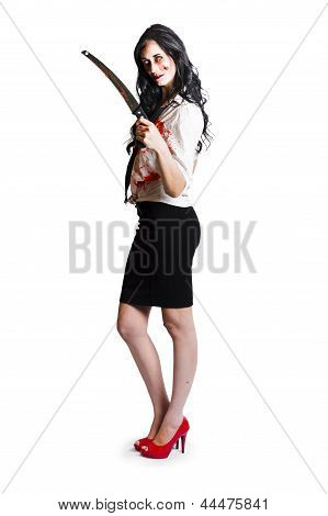 Female Halloween Ghoul With Bloody Saw