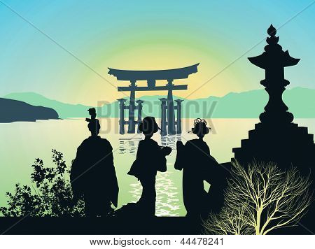 Attractions of Japan - Torii Gate with ocean poster