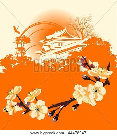 Card With A Flower Sakura And Japanese Houses