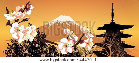 Postcard Sakura Japanese Mountains And Houses