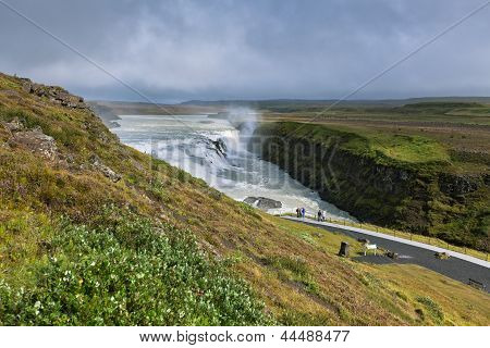 Gullfoss Waterfall southern part of Iceland at overcast weather. Horizontal shot poster