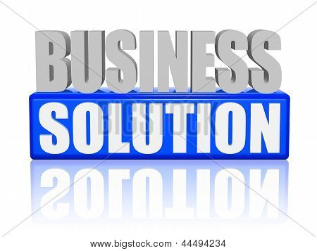 business solution text - 3d blue and white letters and block business concept poster