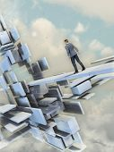 Man walking on a path through a surreal floating building. Digital illustration. poster