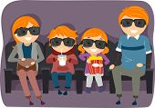 Illustration of a Stickman Family Watching a 3D or 4D Movie poster