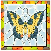 Vector of butterfly (yellow blue wing) in stained-glass window with frame. poster