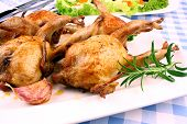 Fried quail with gravy garlic rosemary and salat closeup poster