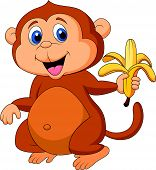 Vector illustration of Cute monkey cartoon eating banana poster