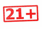 21+ Rubber Stamp over a white background. poster