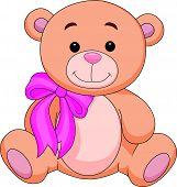 Vector illustration of Cute brown bear stuff cartoon poster