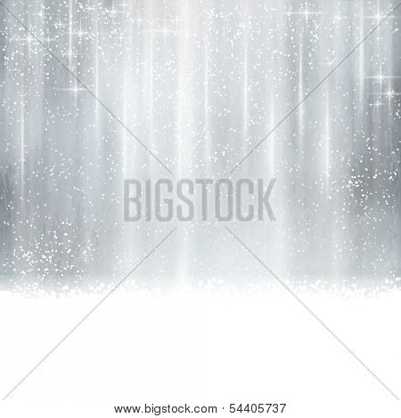 Abstract silver Christmas, winter background with light effects, stars,  snowfall and space for your text.