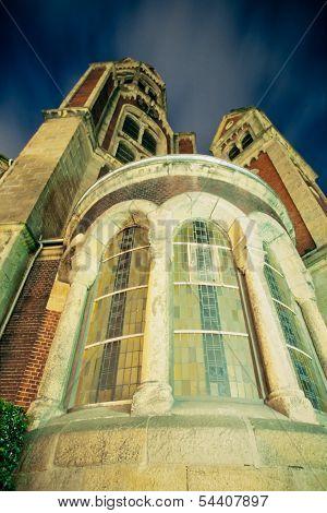 Stone Church Exterior Facade Windows At Night