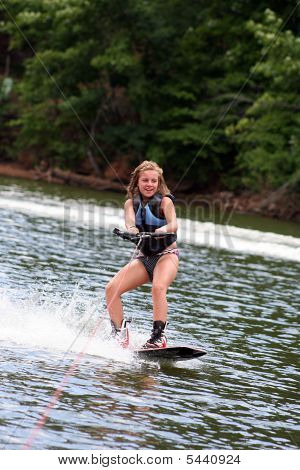 Young Girl Wakeboarding