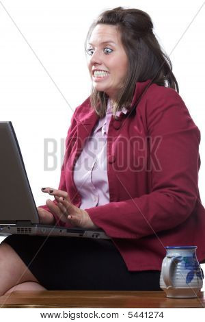 Woman computer scared
