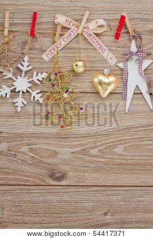 chrismas decorations hanging on clotheline