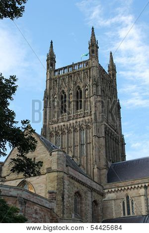 Medieval cathedral tower, City of Worcester, England poster