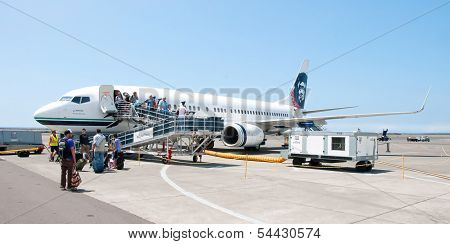 People Leaving Boeing Alaska Airlines In Kona At Keahole International Airport