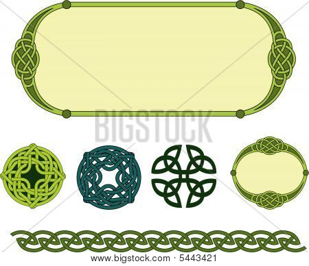 Mystical traditional religious Celtic symbols knots borders and frames poster