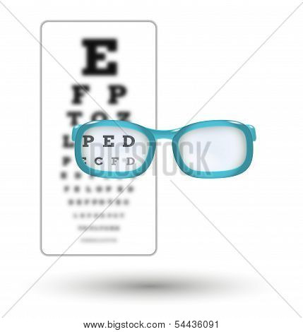 Unsharp Snellen Chart And Sharp Letter With Glasses
