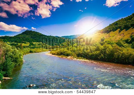 Wild Mountain River On A Clear Summer Day