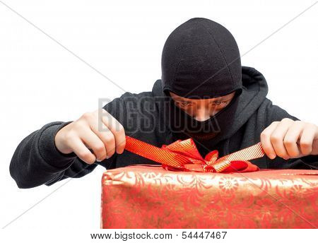 bandit holding a wrapped Christmas gift
