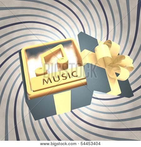 Vintage Christmas Gift Box With Music Icon