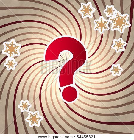 Red Vintage Wooden Question Symbol