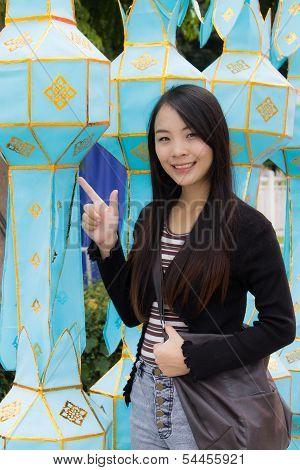Thai Woman With Lanna Lantern In Chiangmai Thailand