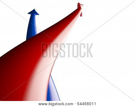 Red and blue arrows competition, 3D illustration poster