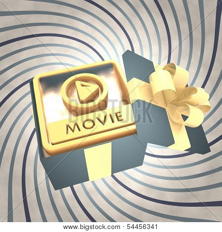 Vintage Christmas Gift Box With Movie File Icon