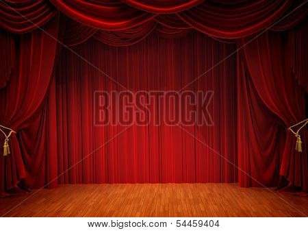 old theater stage with red velvet curtain poster