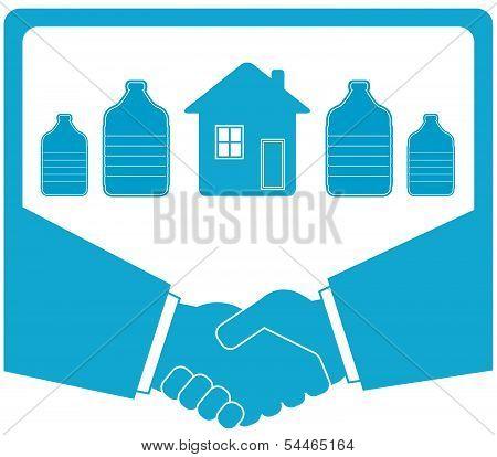 watering badge with bottle, handshake, house