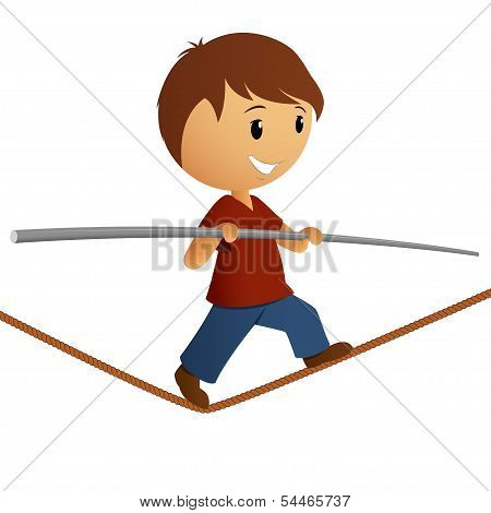 Boy Balance On The Rope