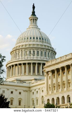Dome Of United States Capitol In Evening Light