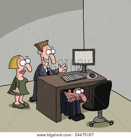 New male office worker cartoon gag