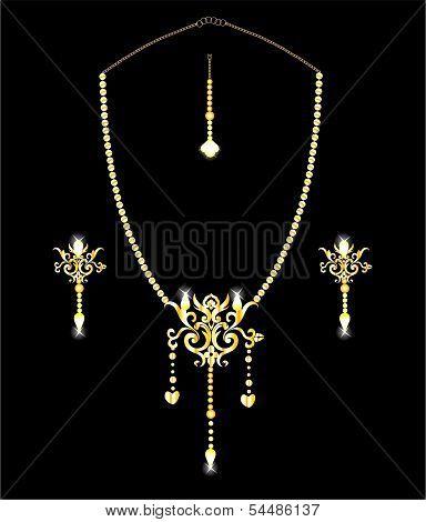 Indian ethnic Gold Jewelery - Necklace