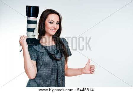 Girl With Professional Camera