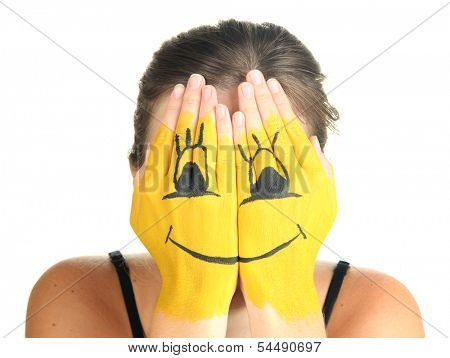 Portrait of girl hiding her face under smile mask isolated on white poster