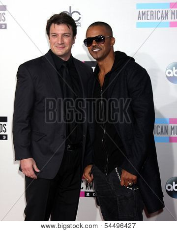 LOS ANGELES - NOV 24:  Nathan Fillion, Shemar Moore at the 2013 American Music Awards Arrivals at Nokia Theater on November 24, 2013 in Los Angeles, CA