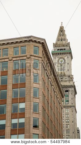 Office Building And Clock Tower In Boston